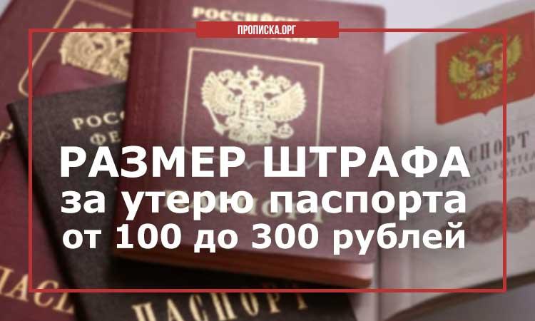 Размер штрафа за утерю паспорта составляет от 100 до 300 рублей.